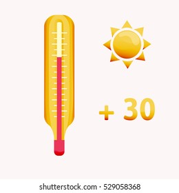 Thermometer with red indicator on a white background