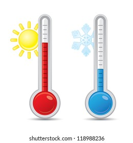 Thermometer with scale measuring heat and cold, with sun and snowflake icons, vector illustration
