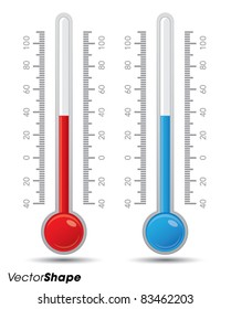 Thermometer with scale measuring heat and cold, vector illustration