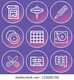 Thermometer, scissors, roof, blueprint, cymbal, marimba, cymbals, cassette icon set suitable for info graphics, websites and print media and interfaces