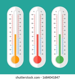 Thermometer three options part 1. Vector icons and objects. Vector Illustration
