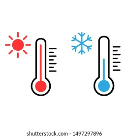 Thermometer vector icon set. Hot and cold weather illustration symbol collection.