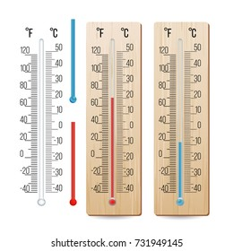 Thermometer Vector. Outdoor, Indoor Alcohol Thermometers Set. Isolated Illustration