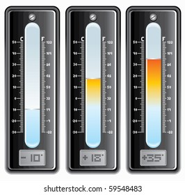 Thermometers with Celsius and Fahrenheit scale. -separated elements -easy editable colors.
