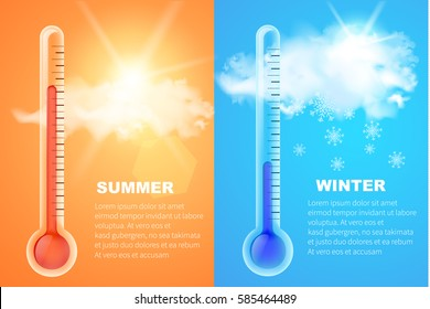 Thermometers icons with high and low temperature and realistic clouds with sun behind him . Vector concept  of hot and cold weather