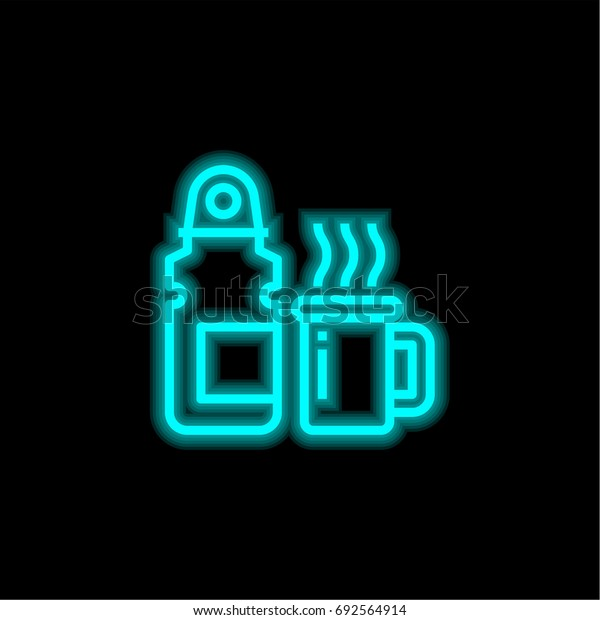 Thermos blue glowing neon ui ux icon. Glowing sign logo vector