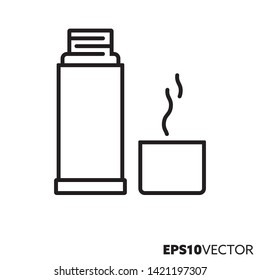 Thermos flask line icon. Outline symbol of hot drinks and kitchenware. Coffee flat vector illustration.