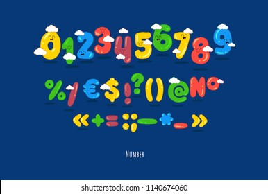 These are funny numbers, punctuations. You can use for cartoon logos and short tittles, children books and greeting cards. Created for the celebration and fun.
