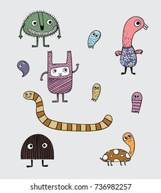 These many monsters varied in gray backgrounds.Cartoon animals the cute monster vector character design