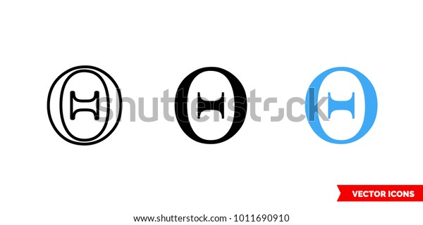 Theta Symbol Icon 3 Types Color Stock Vector (Royalty Free