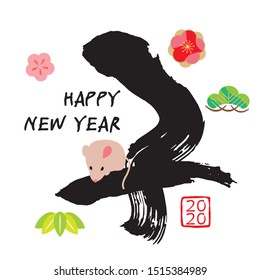 They're a picture of 2020 year mouse and a New Year's card of the character/it's Japanese, and a mouse has been written by a straight line.
