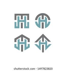 TH/HT monogram initial geometric logo icon vector template