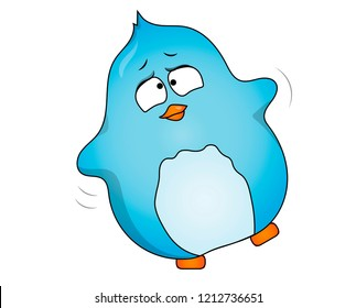 Thick, clumsy little bird of blue color.