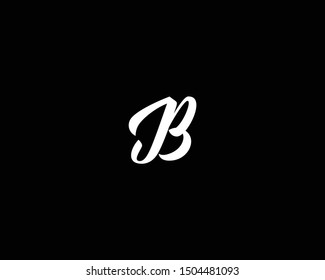 Thick Cursive Hand Written Letter JB Logo Design Icon, Editable in Vector Format in Black and White Color
