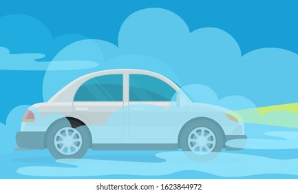 Thick fog on the road. Сar rides slowly in the fog, collapse on the road. Vector illustration ,flat design, cartoon style.