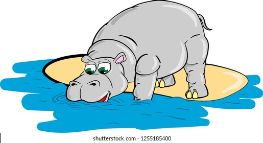 Thick hippo drinks water from river. Cartoon vector.