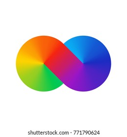 Thick line infinity sign color spectrum. Rainbow gradient in the shape of the infinity symbol. Eight sign colorful gradient. Two circles conjoined.