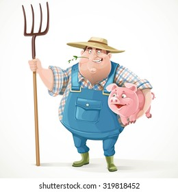 Thick old farmer in overalls and a straw hat holding pitchfork and pig isolated on white background