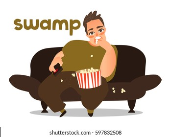Thick swamp popcorn  young fat man  eating pop-corn and watch tv