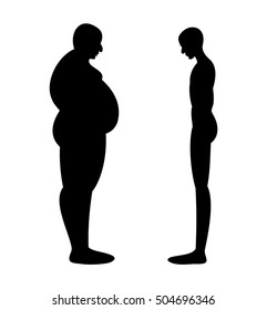 thick and thin men stand opposite each other silhouettes isolated on white background