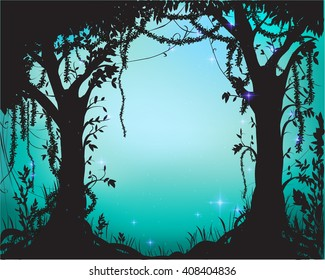 thicket, deep fairy forest silhouette with light and sparkles,vector