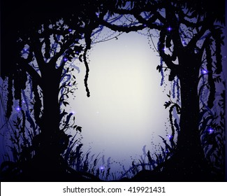 thicket at night,, deep fairy forest or jungle silhouette with light and sparkles, fairy valley, vector