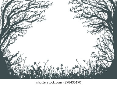 thicket, two big fair trees,deep fairy forest silhouette, shadows