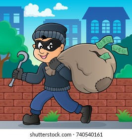 Thief with bag of money theme 2 - eps10 vector illustration.