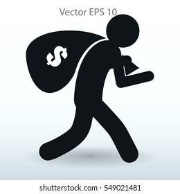 Thief with bag of money vector illustration