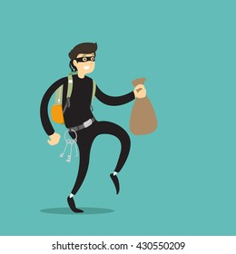 Thief with bag. Vector illustration.