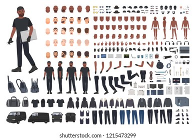 Thief or burglar constructor set. Bundle of flat male cartoon character body parts, hand gestures, facial expressions, clothing and accessories isolated on white background. Vector illustration.