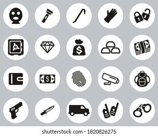 Thief Or Burglar Icons Black & White Flat Design Circle Set Big