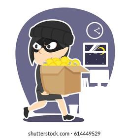 thief businesswoman stealing box of ideas