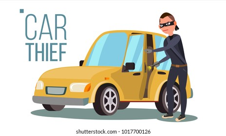 Thief And Car Vector. Breaking Into Car. Insurance Concept. Burglar, Robber, Thief, Robbery, Purse. Isolated Flat Cartoon Illustration