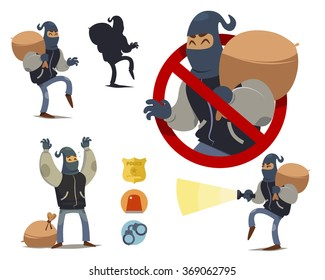 Thief cartoon character. police badge icon, police light icon, handcuffs icon