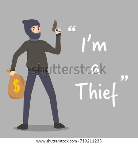 Thief Character Gun Stolen Money Bag Stock Vector (Royalty