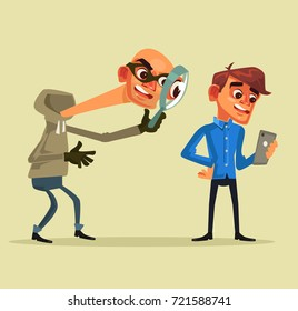 Thief character steals personal data. Fishing concept. Vector flat cartoon illustration
