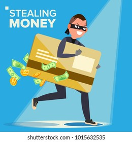 Thief Character Vector. Hacker Stealing Sensitive Data, Money From Credit Card. Hacking PIN Code. Breaking, Attacking. Flat Cartoon Illustration