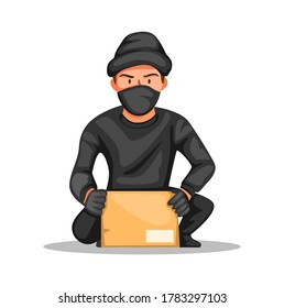 thief crime parcel box. man stealing package online shop package customer in home character concept in cartoon illustration vector