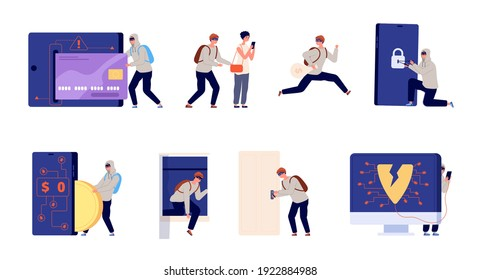 Thief and criminal. Home robbery, theft burglary cartoon. Burglar, cybercrime or hackers, utter database hacking and robbers vector characters