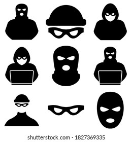 Thief, criminal, robber icon logo isolated on white background