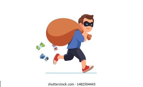 Thief criminal wearing disguise eye mask running carrying big sack full of cash money packs falling from it. Happy smiling robber man carrying loot steal. Flat vector character illustration