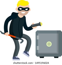 Thief with crowbar and Bank safe. Breaking and stealing money. Criminal problem. Male robber in black with mask. Male offender sneaks. Cartoon flat illustration