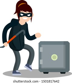 Thief with crowbar and Bank safe. Breaking and stealing money. Criminal problem. Woman robber in black with mask. Female girl offender sneaks. Cartoon flat illustration