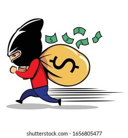 A Thief Escape Cute Cartoon