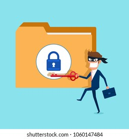 Thief. Hacker holds key stealing confidential data as passwords from personal computer useful for anti phishing and internet viruses campaigns. concept hack internet social network.Vector Illustration