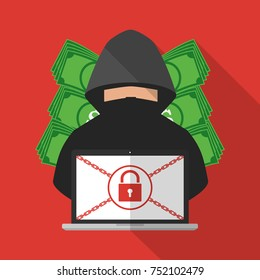 Thief hacker locked victim computer laptop for ransom with ransomware malware virus computer with banknote background. Vector illustration cybercrime technology data privacy and security concept.