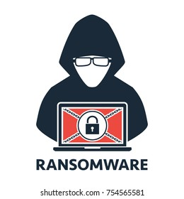 Thief hacker locked a victim computer laptop folder for ransom with ransomware malware virus computer on white background. Vector illustration cybercrime technology data privacy and security concept.