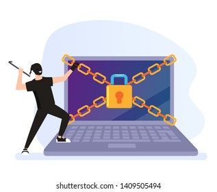 Thief hacker man character trying break security protection system. Cyber internet crime concept. Vector flat graphic design cartoon illustration