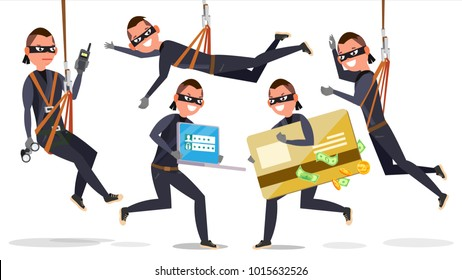 Thief, Hacker Man Set Vector. Stealing Credit Card Information, Personal Data, Money. Fishing Attack. Isolated Flat Cartoon Character Illustration